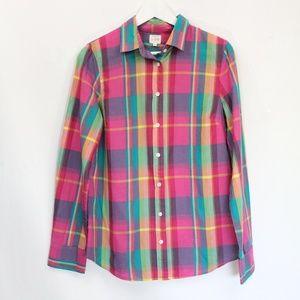 J Crew Plaid Button Front Shirt Medium Women